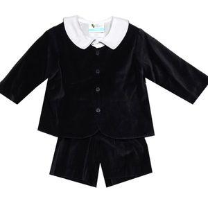 Baby Boy Elton velvet short suit in black